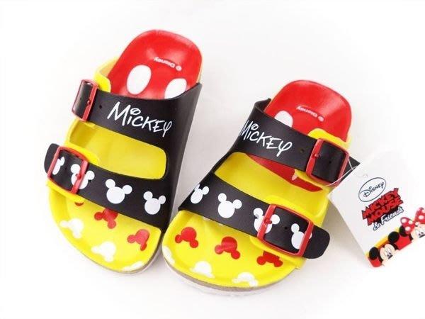 Disney迪士尼米奇經典調整式氣墊兒童拖鞋.童鞋(464706)黑黃15~21號