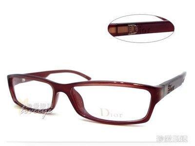 【珍愛眼鏡館】Christian Dior 迪奧 時尚水鑽光學眼鏡 適合小臉 CD3059 深紅 # 3059