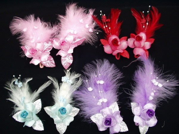 B. & W. world *美美的花飾*R13161***白色羽毛對組花飾*顏色自由選擇 ** 成雙成對