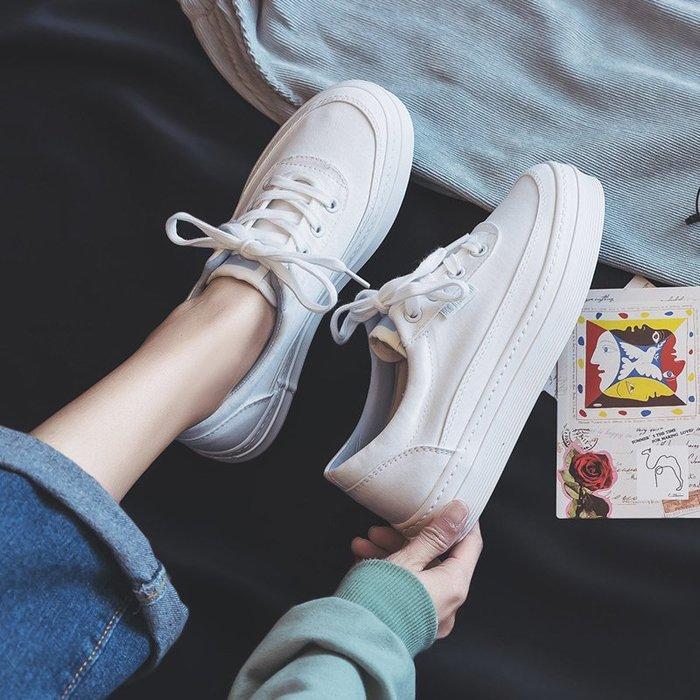 小白鞋厚底帆布鞋女學生韓版百搭2019新款低幫白色增高鞋女小白鞋女