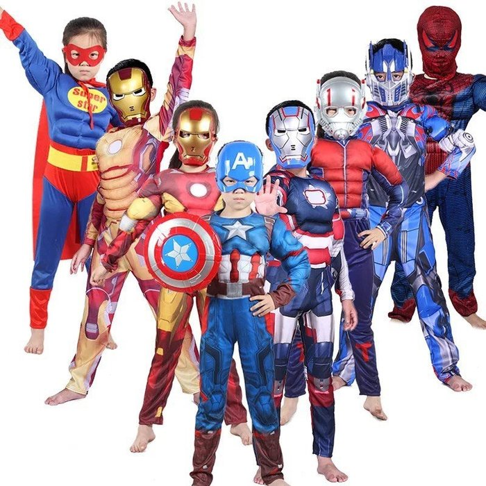 萬聖節兒童服裝鋼鐵俠復仇者聯盟超人蜘蛛俠美國隊長肌肉款衣服 盛 現貨--崴崴安兒童館