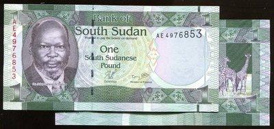 South SUDAN ( 南蘇丹紙幣), P5 , 1 POUND , 2011 ,品相全新UNC