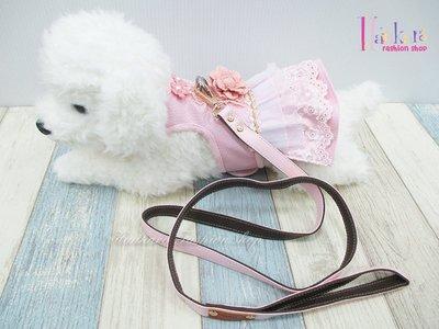 ☆[Hankaro]☆ 寵愛毛小孩粉色花朵皮料裙裝胸背含牽繩(共三種尺寸)