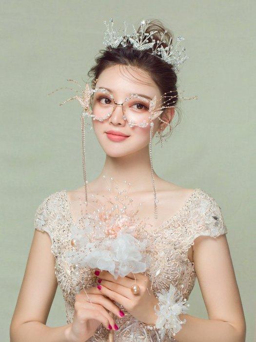 西柚姑娘雜貨鋪☛熱賣中#韓式結婚頭飾品奢華水鉆皇冠文藝眼鏡唯美手捧花婚紗配飾