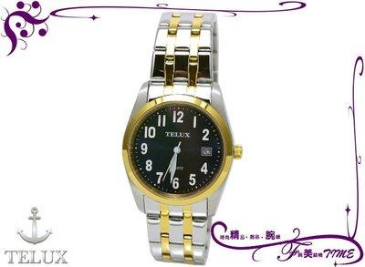 TELUX # 7775 MTG 全新公司貨 水晶玻璃鏡面 簡潔大方時尚腕錶 男錶(深藍面半金)*腕美錶情