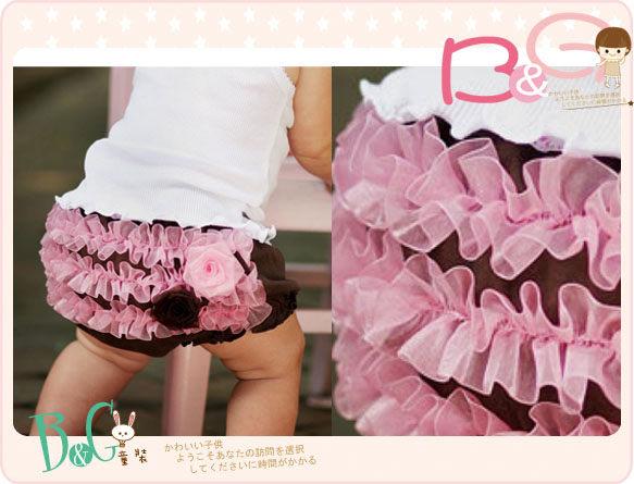 【B& G童裝】正品美國進口RuffleButts 立體花朵單面荷葉包屁短褲6-12mos