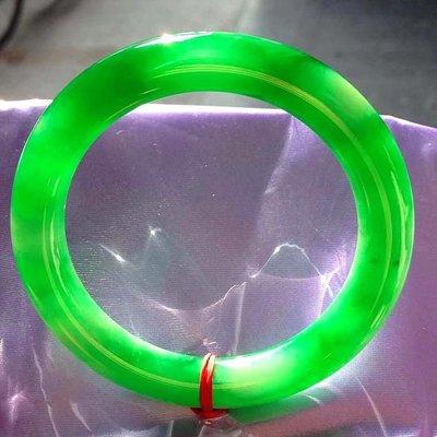 园条冰种满绿翡翠玉手镯天然老坑冰糯种细条翡翠手镯阳绿水润女款