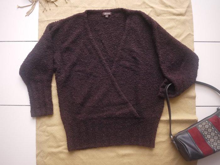 【二手精品好衣】abse深咖啡 和服領毛絨上衣 M號 幾近全新 衣櫃爆滿清倉特賣價