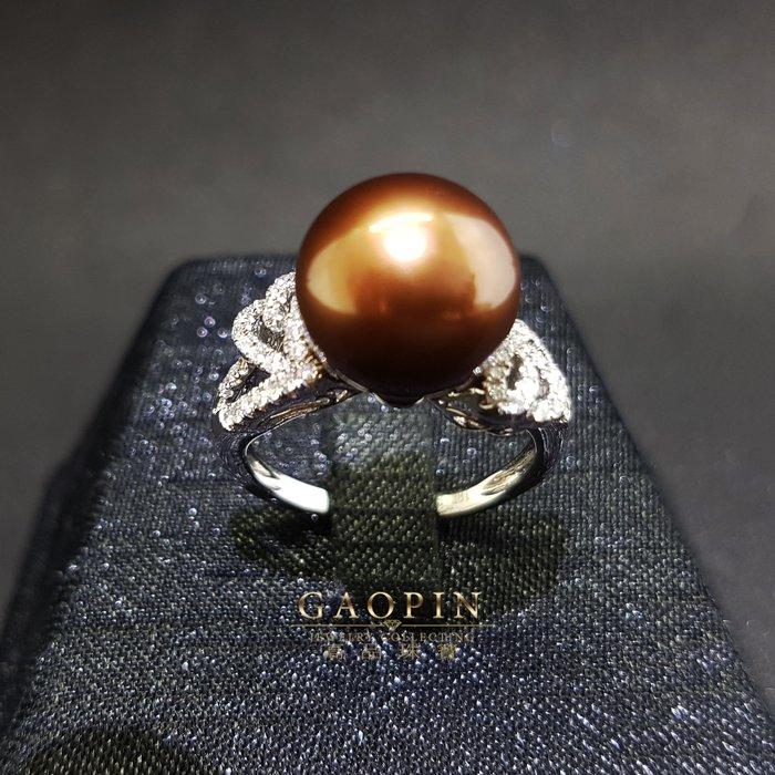 【高品珠寶】11.4mm天然南洋珠戒 女戒 18K #2732