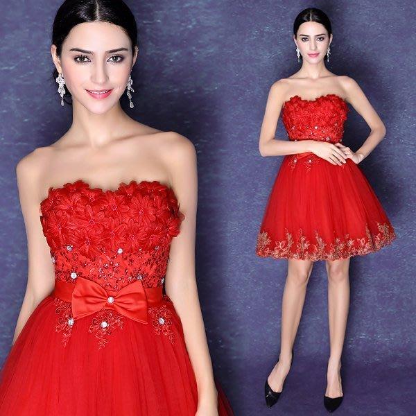 大小姐時尚精品屋~~新款火焰红抹胸短款禮服~3件免郵