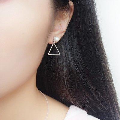 925純銀珍珠耳釘三角形耳環女 時尚大氣珍珠三角形耳飾品新潮