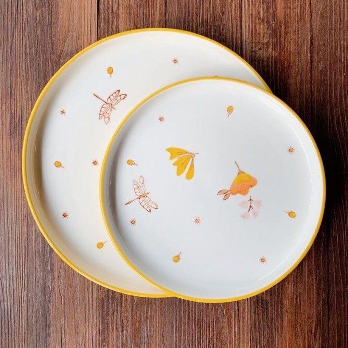 現貨/ 田園簡約 北歐風餐盤 10 吋 陶瓷盤  手繪盤 陶瓷盤 甜點盤 牛排盤餐盤 大理石 手繪餐盤 點心盤 餐具