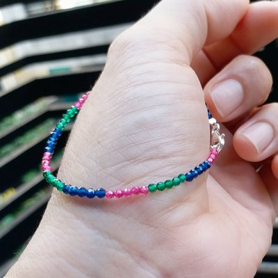 嗨,寶貝銀飾珠寶*925純銀☆混搭風 時尚精品 華麗閃亮亮寶石切割 純天然紅寶石 藍色尖晶石寶石 綠色尖晶石寶石純銀手鍊