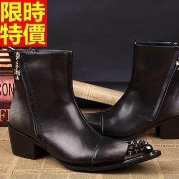 尖頭皮鞋 真皮中筒靴-鉚釘鞋頭英倫搖滾增高男鞋子65ai44[獨家進口][米蘭精品]