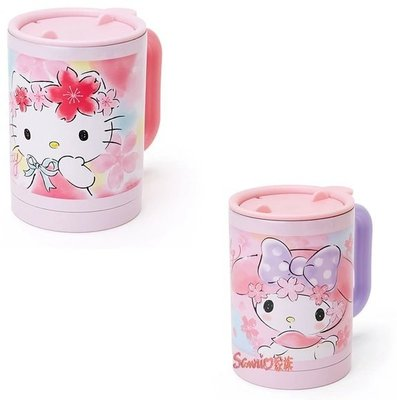 《東京家族》kitty 美樂蒂melody 保溫 保冷 圓筒浪漫櫻花系列 不鏽鋼水杯 2選1