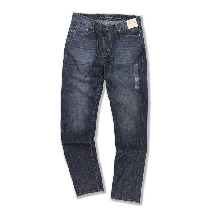 美國百分百【Calvin Klein】牛仔褲 CK 休閒褲 長褲 單寧 直筒 合身 鐵藍 抓紋刷白 32腰 F690