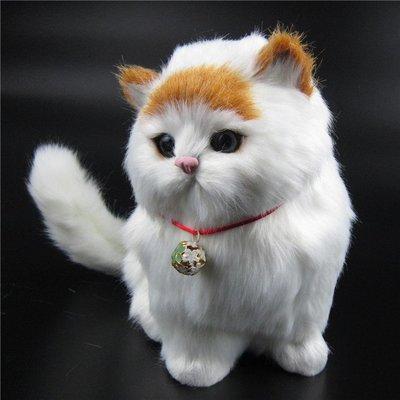 仿真貓咪毛絨動物玩具貓會叫的擺件女朋友禮物假兒童毛絨玩具-    全館免運