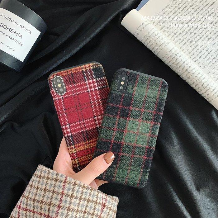簡約毛呢格子iPhonexs max手機殼7P蘋果x秋冬新款8plus情侶6s女XR蘋果手機殼