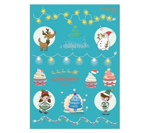【萌古屋】聖誕節夜光紋身貼紙C - 男女防水紋身貼紙Merry Christmas刺青貼紙
