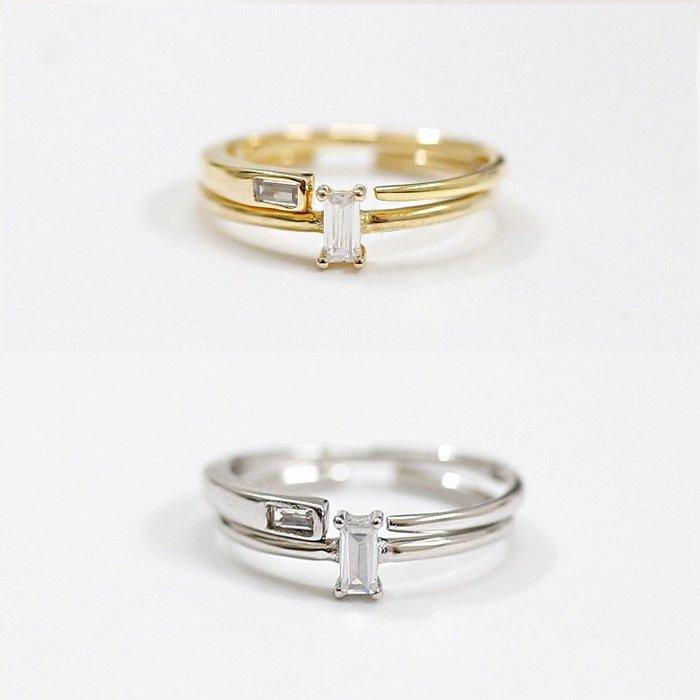 《現貨》925純銀 時尚個性方锆石雙色自由配開口戒 關節戒尾戒指 生日情人禮 母親節禮物  Baonizi 寶妮子