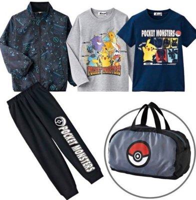 *小栗鼠散步鋪*日本帶回精靈寶可夢 皮卡丘 POKEMON 外套 長T 短T 長褲 袋子 福袋 精選超值五件組