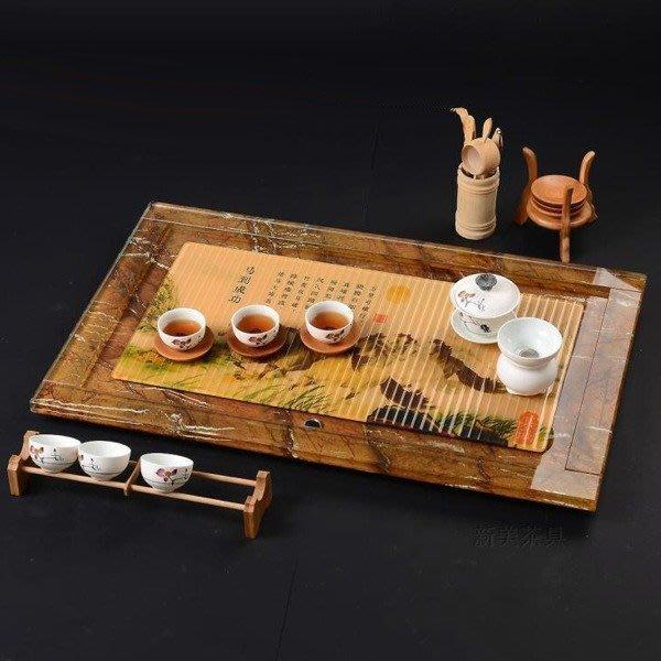 5Cgo【茗道】含稅會員有優惠 41722450748 馬到成功 玻璃茶盤琉璃茶盤功夫茶具現代茶臺泡茶石頭 70*46