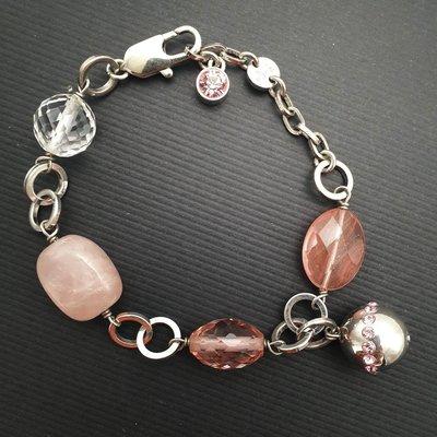 DYRBERG/KERN 粉色玉石 晶鑽 手鍊 來自丹麥的首飾品牌