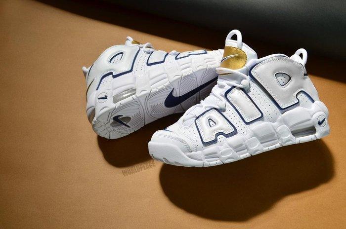 "沃皮斯§Nike Air More Uptempo GS ""White /Navy"" 白藍 女段 415082-109"