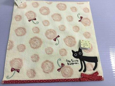 日本 小黑貓玫瑰紅點蝴蝶結 方巾