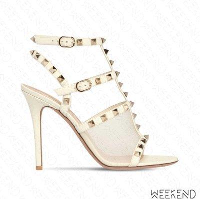【WEEKEND】VALENTINO Rockstud Strap 鉚釘 100mm 高跟 涼鞋 白色 19秋冬