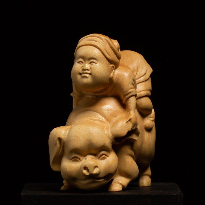 黃楊木雕創意文玩客廳擺件新雕刻工藝品人物實木新掛件把玩手把件騎豬轉運 木雕GJ-001