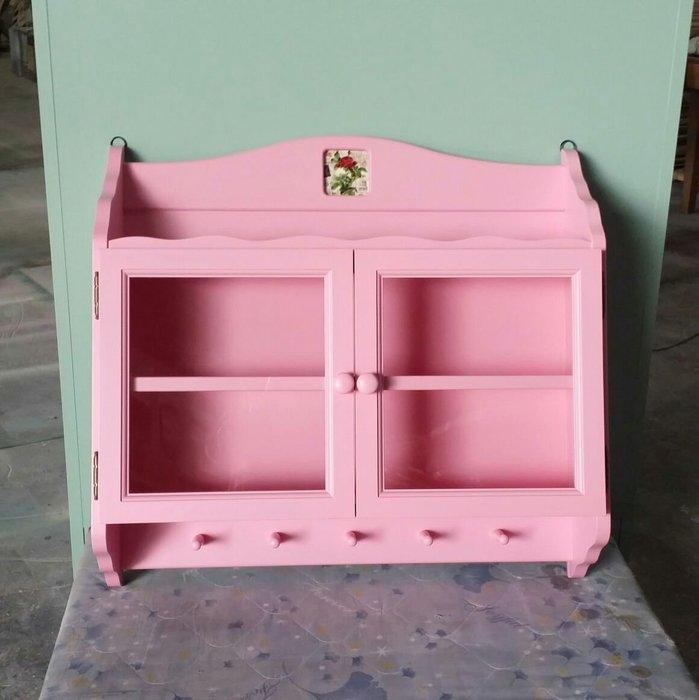 美生活館-- 鄉村風格 實木材質 -- 客訂改色款--粉紅色 雙門壁櫃/收納櫃/杯盤櫃