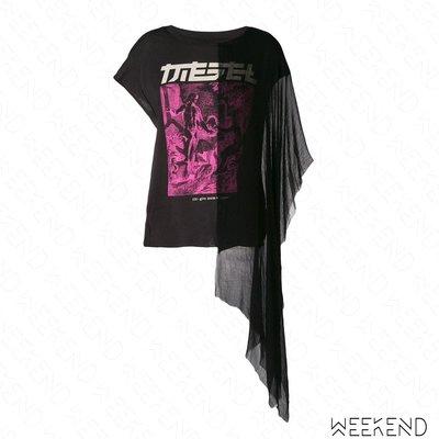 【WEEKEND】 DIESEL T-AZI 不對稱 披肩 短袖 T恤 上衣 黑色 18秋冬