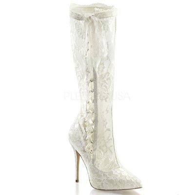 Shoes InStyle《五吋》美國品牌 FABULICIOUS 原廠正品蕾絲高跟及膝長馬靴 有大尺碼『象牙白色』