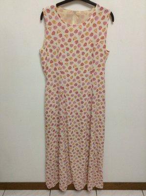 全新 義大利製 無袖白底粉紅&淡橘色花朵色長洋裝