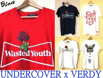 BLACK近全新UNDERCOVER x VERDY玫瑰花wasted youths GIRLS DONT CRY短T