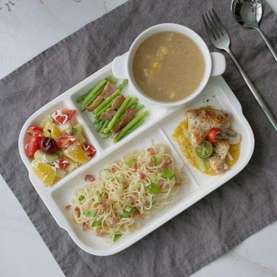 創意陶瓷分格盤早餐盤西餐盤子牛排盤快餐盤兒童餐盤點心分隔盤igo