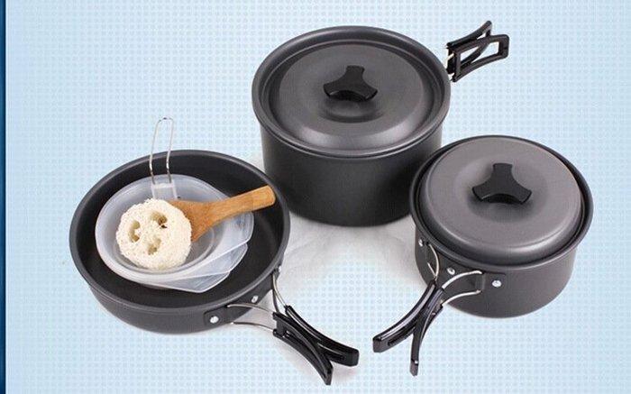 2-3人套鍋便攜式套鍋露營野餐烤肉套鍋戶外套鍋登山鋁合金套鍋