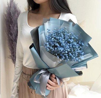 漫島 藍色滿天星花束干花送男生情侶節日生日禮物鮮花速遞