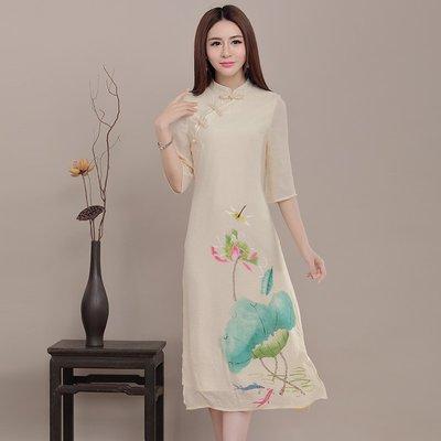 棉麻 洋裝 正韓版女裝春夏新款 中國風...