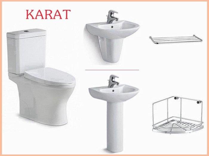 誠寶衛浴   KARAT 馬桶面盆組(含龍頭)    全新智潔技術的衛浴來囉~再加送DAY&DAY不銹鋼收納*二件