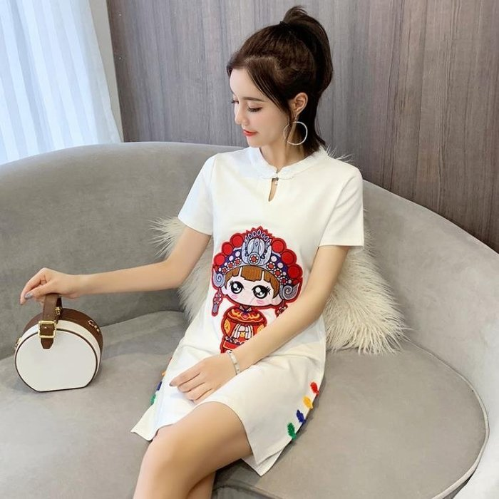 旗袍年輕款少女2019夏季改良式新款中國風短款學生日常優雅洋裝