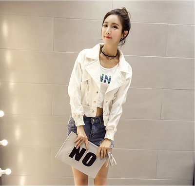 Color Fashion秋季韓版女裝短款小外套寬鬆長袖夾克 G825155女衣上衣罩衫