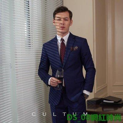 DS_08網紅時尚春季上新男士西服免燙修身兩粒單排扣雙開叉西服上衣藏藍單西男