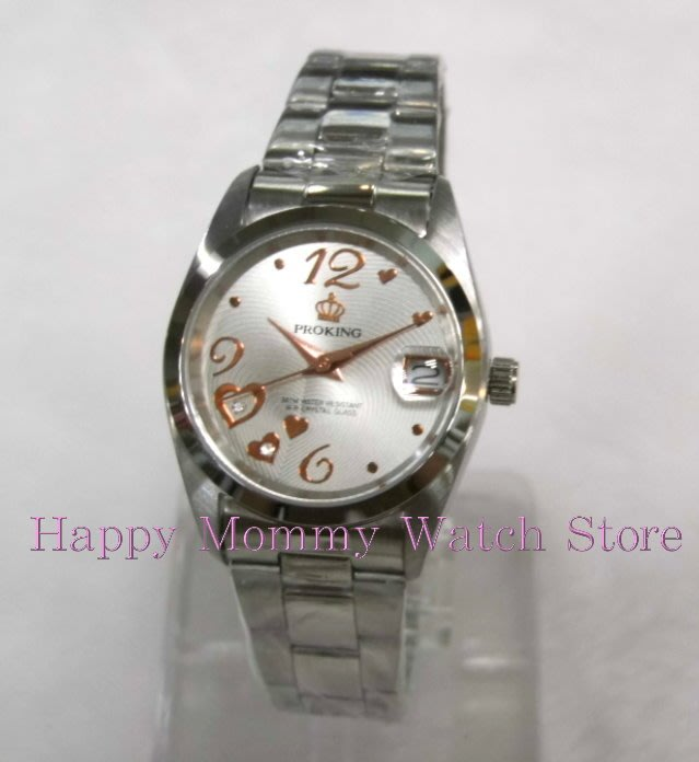 【幸福媽咪】網路購物、門市服務 PROKING 皇冠 日本機芯 白底金 日期防水女錶 30mm 型號:4027