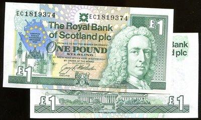 SCOTLAND(蘇格蘭紙幣),P356,1-POUND,1992歐盟,品相全新UNC