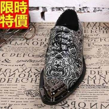 尖頭鞋 真皮皮鞋-鉚釘鞋頭精緻花紋低跟男鞋子65ai18[獨家進口][米蘭精品]