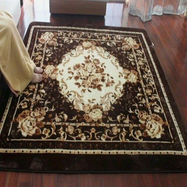 粉紅玫瑰精品屋~棕色剪花客廳地毯 臥室地毯~