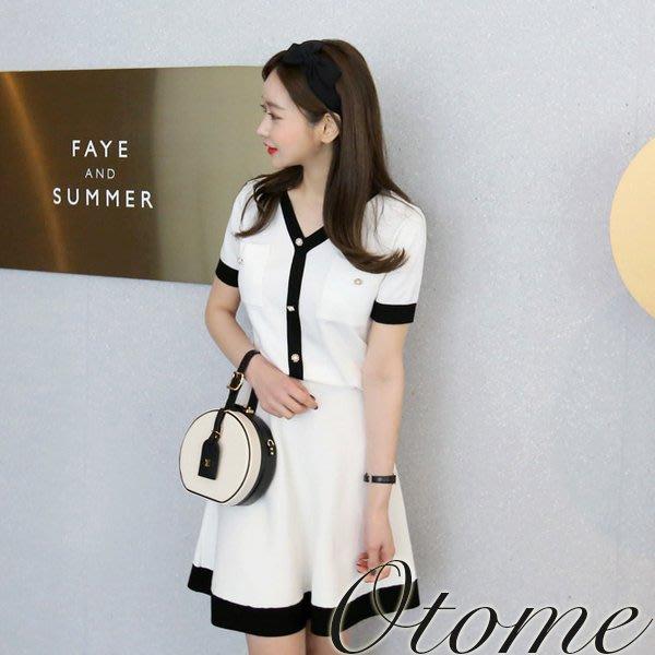 Otome.shop 正韓國空運 Y字配色小香風格兩件式套裝洋裝【8APR-14062454】MSS