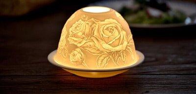 ❀蘇蘇購物館❀玫瑰花款精細雕花 陶瓷浮雕 陶瓷燈 法式燭台